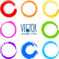 Rainbow Colors Brush Strokes Grunge Circles Stock Image - 43776781