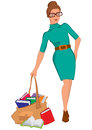 Cartoon Young Woman Holding Big Bag Full Of Books Stock Image - 43784051