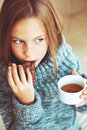 Child Drinking Tea Royalty Free Stock Image - 43795006