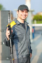Smiling Gas Station Worker At Work Stock Photos - 43814863