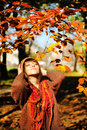 Woman Relaxing In Autumn Park. Stock Photography - 43815242