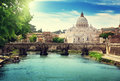 View On Tiber And St Peter Basilica Stock Image - 43827011