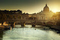View On Tiber And St Peter Basilica Royalty Free Stock Photography - 43827497