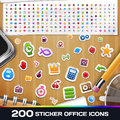 200 Sticker Universal Icons Set 2 Royalty Free Stock Photography - 43837087
