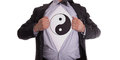 Businessman With Yin And Yang T-shirt Royalty Free Stock Image - 43859706