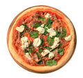 Pizza With Cheese, Bacon And Spinach Stock Photos - 43876273