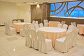 Wrapped Table And Chairs Ready For Celebration Stock Photo - 43877580