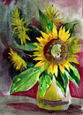 Painting Sunflower Stock Image - 43877931