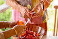 Cooking Couple At Kitchen Royalty Free Stock Photography - 43897757