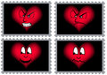 Four Stamps With Hearts Royalty Free Stock Images - 4393059