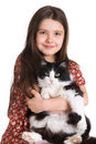 Kid And Fluffy Cat Royalty Free Stock Images - 4396409
