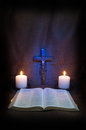 Bible, Rosary, Crucifix And Two Candles Stock Image - 43942061