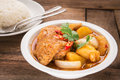 Chicken Mussaman Curry In Bowl And Rice Stock Image - 43953531