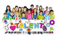 Diverse Cheerful Children Holding The Word Talent Stock Photos - 43960633