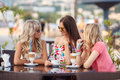 Three Women Enjoying Cup Of Coffee In Cafe. Royalty Free Stock Image - 43967296