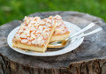 Pie With Ricotta And Nuts Over Rustic Background Royalty Free Stock Photos - 43974968