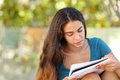 Beautiful Student Teen Girl Studying In A Park Stock Image - 43975801