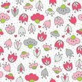 Pink Flowers And Hearts On White Seamless Pattern Stock Photo - 43987430