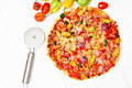 Stone Baked Pizza With Chicken And Vegetables Royalty Free Stock Images - 43996379