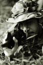 Soldier Taking Aim Straight On Royalty Free Stock Photo - 4401315