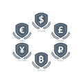 Euro Dollar Yen Yuan Bitcoin Ruble Pound Mainstream Currencies Symbols On Shield Sign. Vector Illustration Graphic Template Isolat Stock Images - 44003604