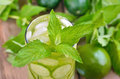 Lemonade With Fresh Cucumber, Lime And Mint In Glass Stock Photography - 44003622