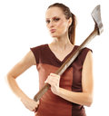Crazy Girl With Axe Stock Photography - 44016302