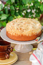 Round Streusel Fruit Cake On A Cake Stand Royalty Free Stock Images - 44027139