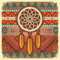 Vector Dream Catcher Poster With Ethnic Ornament Stock Image - 44030151