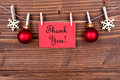 Thank You Label On A Line, Winter Background Stock Photography - 44037132