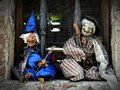 Two Little Witches In The Window Stock Image - 44041021