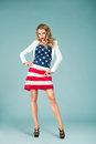 Pinup Girl With American Flag Royalty Free Stock Photos - 44047088