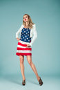 Pinup Girl With American Flag Royalty Free Stock Image - 44047096