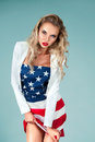 Pinup Girl With American Flag Stock Images - 44047134