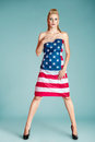 Pinup Girl With American Flag Royalty Free Stock Images - 44047149