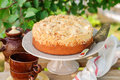 Round Streusel Fruit Cake On A Cake Stand Royalty Free Stock Photo - 44057915