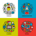Flat Line Icons Set Of Workshop, Education, E-learning, Tutorials Royalty Free Stock Photography - 44059697