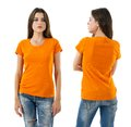 Sexy Woman With Blank Orange Shirt And Jeans Stock Images - 44063484