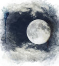 Watercolor Image Of  Full Moon Stock Photo - 44073780