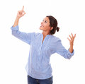 Charming Woman Looking And Pointing Right Up Royalty Free Stock Photos - 44080078