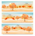 Three Autumn Abstract Banners With Colorful Leaves Stock Image - 44084501