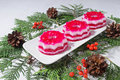 Christmas Dessert With Red And White Jelly Royalty Free Stock Photos - 44096908