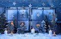 Outdoor Christmas Window Decoration In Blue With Wood And Candle Stock Image - 44100461