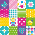 Happy Patchwork Pattern Collection Royalty Free Stock Photo - 44103905
