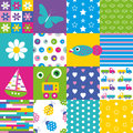 Happy Patchwork Pattern Collection Stock Images - 44103914