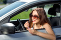 Woman Driving Her Car Royalty Free Stock Image - 44106156