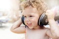 Child With Headphones Royalty Free Stock Photography - 44106407