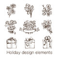 Presents And Flowers Sketch Collection. Stock Images - 44113764