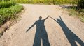 Theatre Of Shadows Boy And Girl On Rural Path Stock Image - 44121801