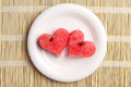 Two Watermelon Slices In The Shape Of Hearts Stock Images - 44127094